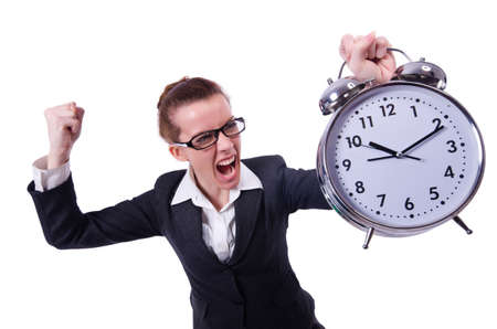 Funny woman with clock on white Stock Photo - 19492335