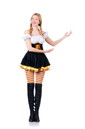 Oktoberfest concept with woman on white photo