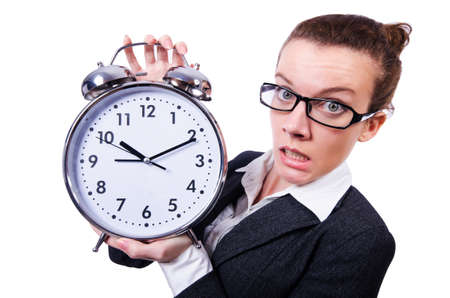 Funny woman with clock on white Stock Photo - 19493039