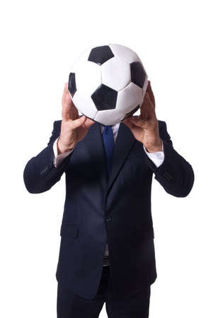 Businessman with football on white photo