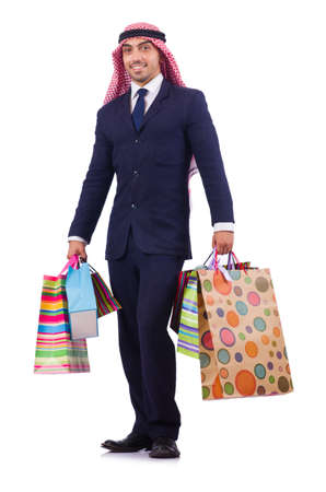 qameez: Arab man with shopping gifts on white