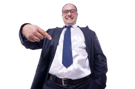 Funny businessman isolated on white Stock Photo - 19323438