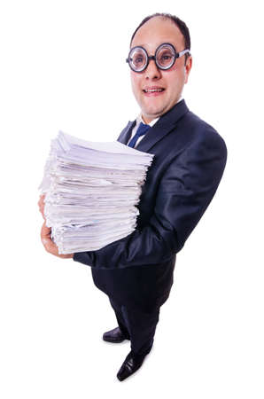 Funny man with lots of folders on white Stock Photo - 19501331