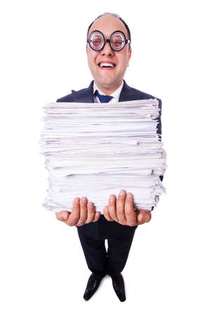 Funny man with lots of folders on white Stock Photo - 19501330