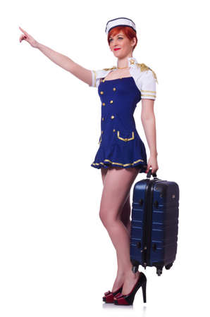 Woman travel attendant with suitcase on white Stock Photo - 19501377