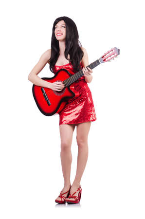 Young singer guitar on white photo