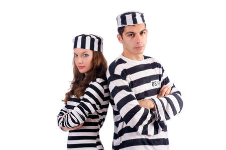 Pair of prisoners isolated on white Stock Photo - 19501392