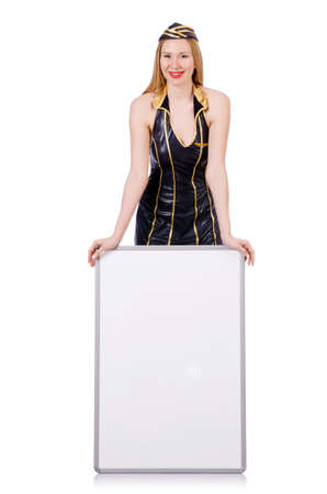 Tall airhostess with blank board on white photo