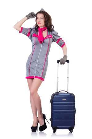 Woman travel attendant with suitcase on white Stock Photo - 19480524