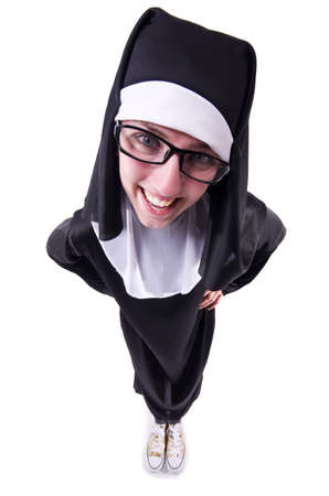 Funny nun isolated on the white background Stock Photo - 19501418