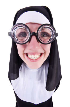 Funny nun isolated on the white background Stock Photo - 19501446