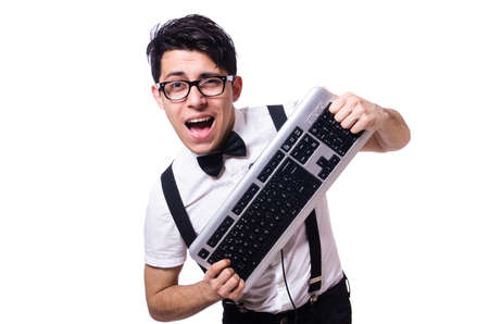 Funny computer geek isolated on white photo