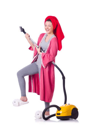 Woman working with vacuum cleaner on white Stock Photo - 19512135