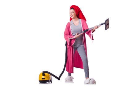 Woman working with vacuum cleaner on white Stock Photo - 19511989