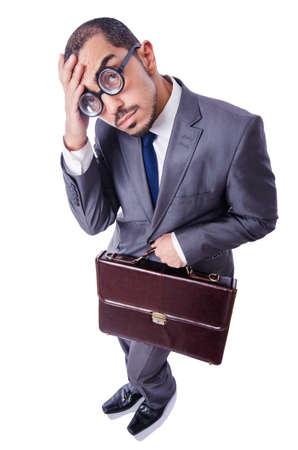 Funny nerd businessman isolated on white Stock Photo - 19512241