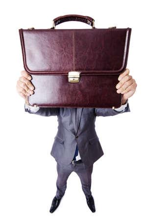 Funny nerd businessman isolated on white Stock Photo - 19373852