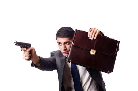 Businessman with gun isolated on white Stock Photo - 19642603