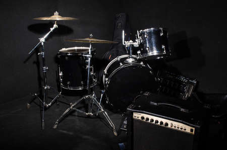bass drum: Set of musical instruments during concert Stock Photo