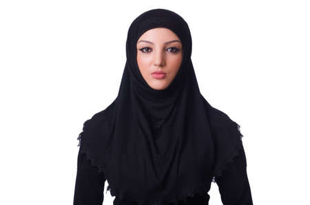 Muslim young woman wearing hijab on white Stock Photo - 19531461