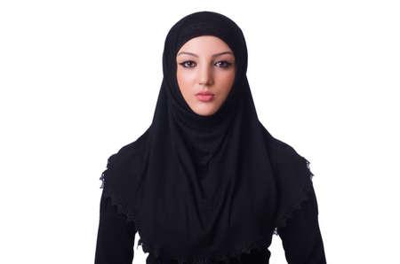 Muslim young woman wearing hijab on white Stock Photo - 19531461