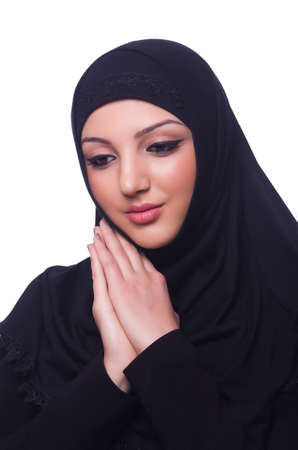 Muslim young woman wearing hijab on white Stock Photo - 19531479