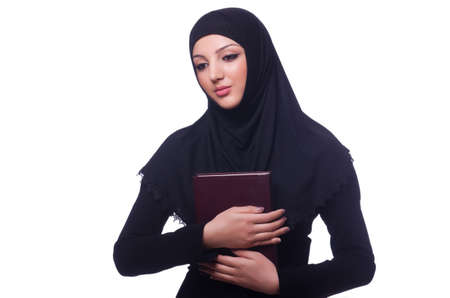 Muslim young woman wearing hijab on white Stock Photo - 19512129