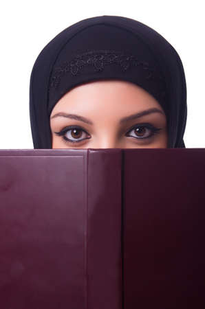 Muslim young woman wearing hijab on white Stock Photo - 19512270