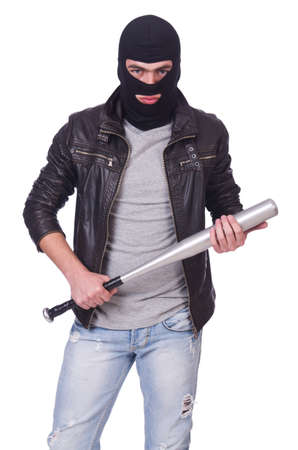 Male hooligan with bat on white photo