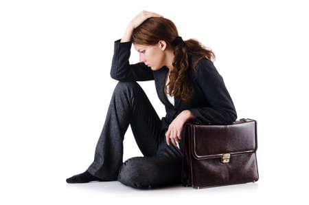 Bankrupt businesswoman isolated on white photo