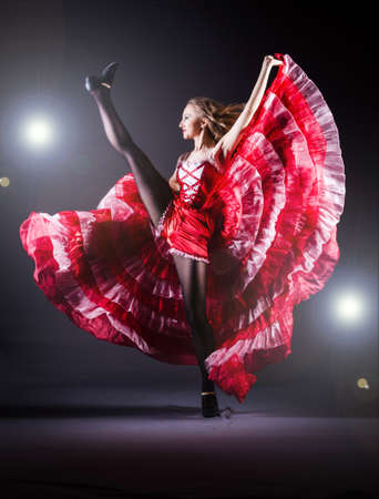 Girl in red dress dancing dance Stock Photo - 19525424