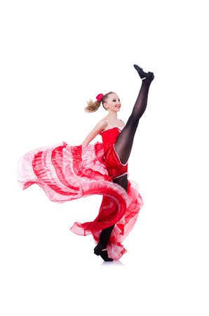 Girl in red dress dancing dance Stock Photo - 19525369