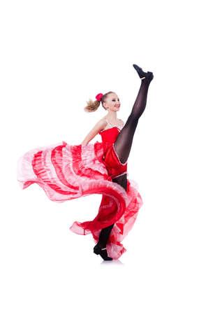 Girl in red dress dancing dance Stock Photo - 19525369