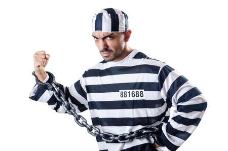Convict criminal in striped uniform Stock Photo - 19482509