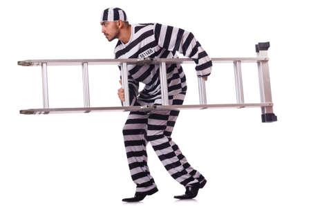Convict criminal in striped uniform Stock Photo - 19482395