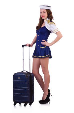 Airhostess with luggage on white Stock Photo - 19482370