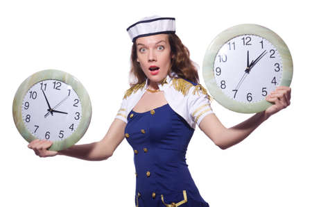 Sailor with clock isolated on white Stock Photo - 19482489