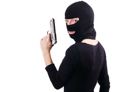 Criminal with gun isolated on white Stock Photo - 19482420