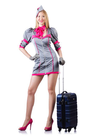 Airhostess with luggage on white Stock Photo - 19482435