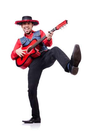 Guitar player isolated on the white photo