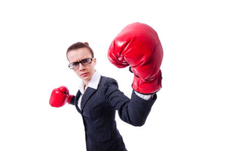 Woman with boxing gloves on white Stock Photo - 19482448