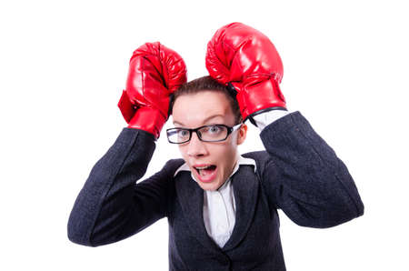 Woman with boxing gloves on white Stock Photo - 19482538