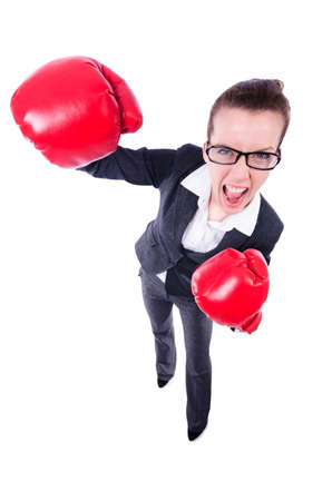 Woman with boxing gloves on white Stock Photo - 19482482