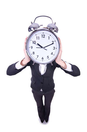 Funny woman with clock on white Stock Photo - 19372276