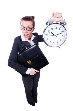 Funny woman with clock on white Stock Photo - 19482437