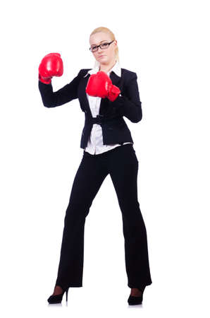 Woman businesswoman with boxing gloves on white Stock Photo - 19525427