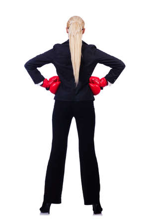 Woman businesswoman with boxing gloves on white Stock Photo - 19331617