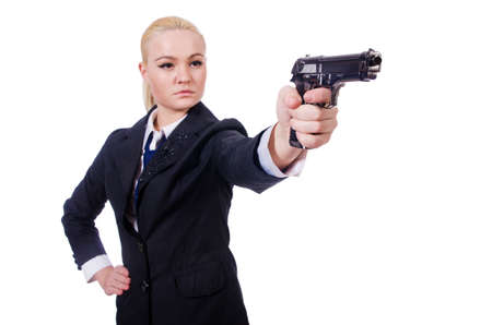 Woman with gun isolated on white Stock Photo - 19525442
