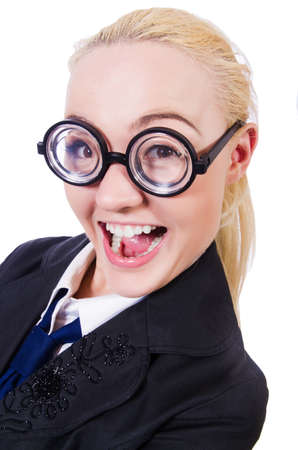 Businesswoman in funny concept on white Stock Photo - 19531481