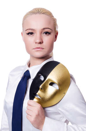 Woman with mask in hypocrisy concept Stock Photo - 19512268