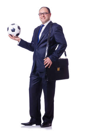 Man with football isolated on white Stock Photo - 19642599
